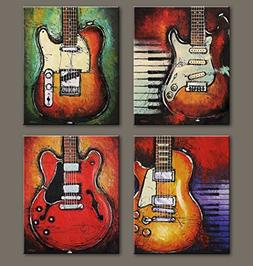 Abstract Guitar Music Wall Art Canvas Red Purple Prints Pain