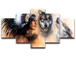 Native American Home Decor,Indian Man In Ethnic Feather With
