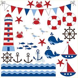 Wallmonkeys Nautical Nursery Wall Decal Sticker Set WM498540