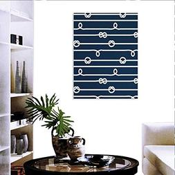 Navy Blue Print Paintings Home Wall Office Decor Horizontal