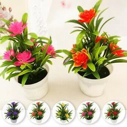 New Realistic Artificial Flowers Plant Pot Outdoor Home Offi