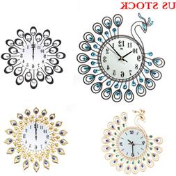 New Vintage Style Metal Peacock Antique Wall Clock Home Offi