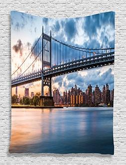 Ambesonne New York Tapestry Wall Hanging Decor, NY City Kenn
