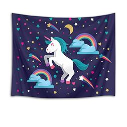 HVEST Night Sky Tapestry Unicorn Tapestry Wall Hanging White