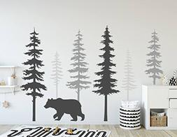 N.SunForest Nursery Wall Decals Pine Tree Wall Decals with L
