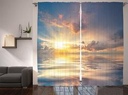 Ambesonne Ocean Decor Collection, Mystic View of Sunset Over