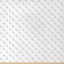Ambesonne Ocean Decor Fabric by The Yard, Fishing Hooks Patt