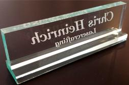 """Office Desk Name Plate 1/2"""" glass-like acrylic personalized/"""