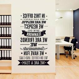 "OFFICE RULES ""WE ARE A TEAM"" Removable Wall Decal Vinyl Quot"
