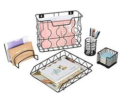 PAG Office Supplies 5 in 1 Metal Desk Organizer Set - Hangin