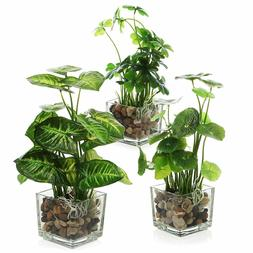 Office Table Artificial Plant Clear Glass Pot 3pcs Fake Leaf