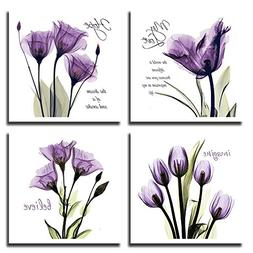 YPY 4pcs Flower Painting Wall Art Giclee Prints Artwork Love