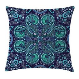 Paisley Throw Pillow Cushion Cover by Ambesonne, Indian Insp