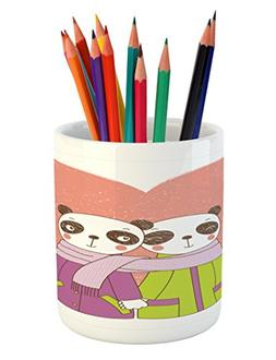 Ambesonne Panda Pencil Pen Holder, Two Cartoon Lovers Holdin