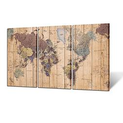 Kreative Arts Large Size 3 Panel Vintage World Map Canvas Wa
