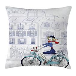 Ambesonne Paris Throw Pillow Cushion Cover by, Woman Riding