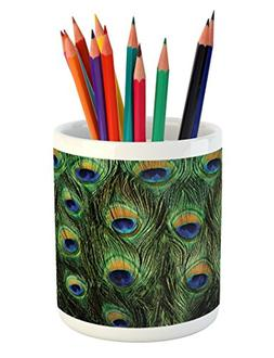 Ambesonne Peacock Pencil Pen Holder, Peacock Tail Feathers T