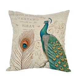 Moslion Peacock Pillow,Home Decor Throw Pillow Cover with Fe
