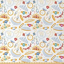 Ambesonne Pearls Decoration Fabric by The Yard, Pattern with