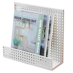 MyGift Perforated White & Copper Wall-Mounted Magazine Rack
