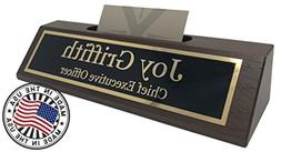 Personalized Business Desk Name Plate with Card Holder - Mad