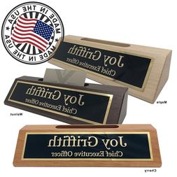 personalized business desk name plate with card