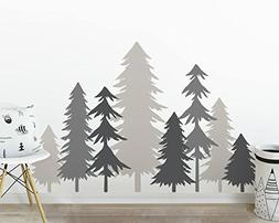 3 Color Pine Tree Forest Wall Decals Tree Wall Decals Forest