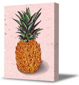 Pineapple Canvas Wall Art Minimalist Home Office Decor Pink