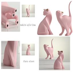 PINK Cat Statue Figurines Pair Siamese Statues Home Office D
