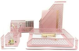 Blu Monaco Office Supplies Pink Desk Accessories for Women-5