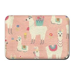 pink llama indoor entrance rug