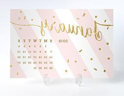 Pink Striped 2018 Desk Calendar with Clear Acrylic Stand Hor