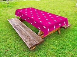 Ambesonne Hot Pink Outdoor Tablecloth, Symmetrical Pattern w