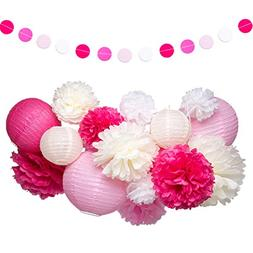 Pink and White Party Decorations Supplies Paper Lanterns Tis