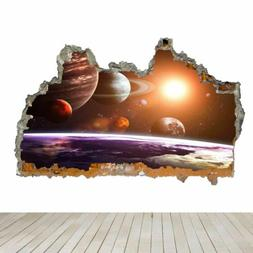 Planets Space Stars Solar System 3D Smashed Wall Art Sticker