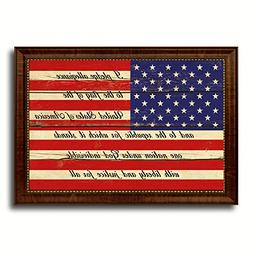The Pledge of Allegiance American USA Vintage Flag Brown Fra