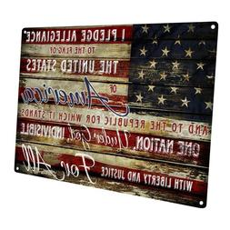 Pledge of Allegiance Metal Sign; Wall Decor for Office or Me