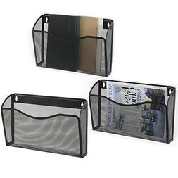MyGift Pocket-Style Black Metal Mesh Wall-Mounted Document /