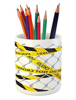 Ambesonne Police Pencil Pen Holder, Police Line Do Not Pass