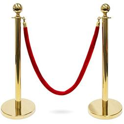 3-foot Polished Ball Top Stanchions with 4.5-foot Red Velvet