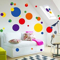 BIBITIME Multicolored Polka Dot Wall Decals Removable Sticke