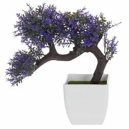 MyGift Purple Blossom Artificial Bonsai Tree, Faux Potted Pl