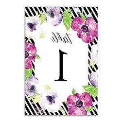 Purple Floral Table Numbers Stripe Border 25 Pack All Occasi