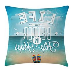 Ambesonne Quote Decor Throw Pillow Cushion Cover, Life is Be