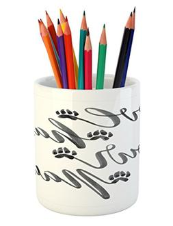 Ambesonne Quote Pencil Pen Holder, Watercolor Style Hand Let