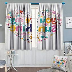 Chaneyhouse Quote Window Curtain Drape Heart Shaped Sunshine