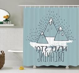 Ambesonne Quotes Decor Shower Curtain Set, Mountain Peaks Ne