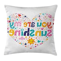Ambesonne Quotes Decor Throw Pillow Cushion Cover, Heart Sha