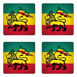 Ambesonne Rasta Coaster Set Four, Judah Lion a Rastafari Fla