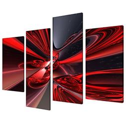 Large Red Black Abstract Canvas Wall Art Pictures - Modern S